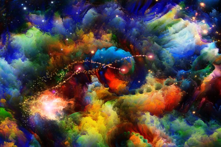Interplay of colorful fractal turbulence on the subject of fantasy, dreams, creativity, imagination and art